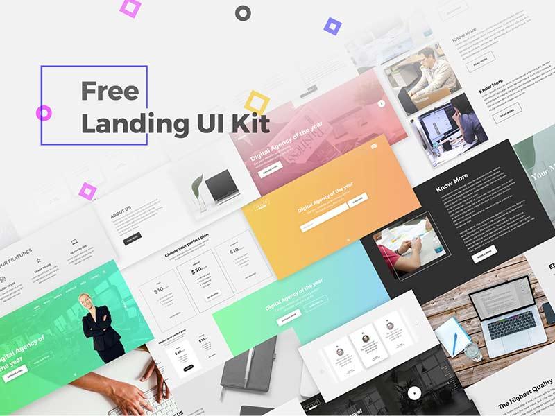 Landing UI Kit - Free PSD