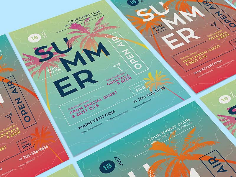 Summer Poster Template - Illustrator Freebie