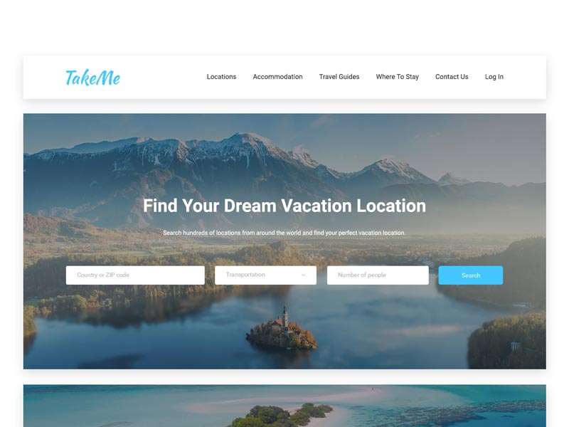 TakeMe - Travel Website UI Kit