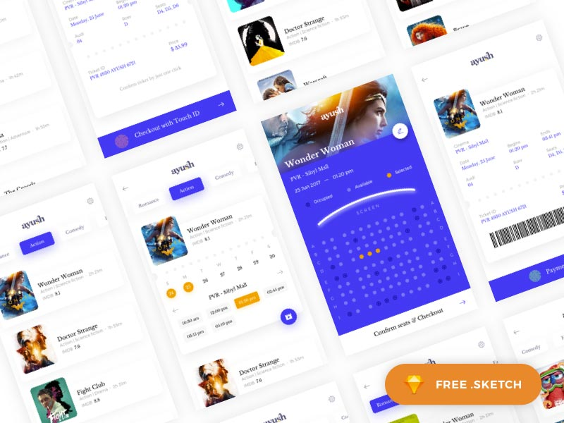 Movie Booking - Sketch UI Kit