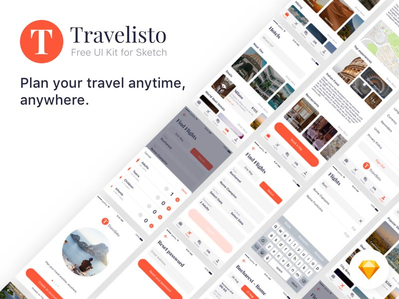 Travelisto UI Kit For Sketch