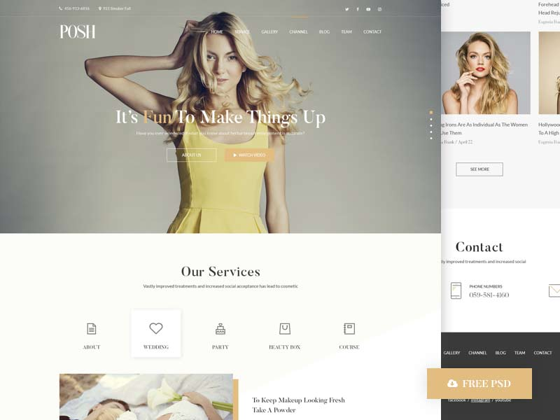 Posh Beauty Website - Free PSD