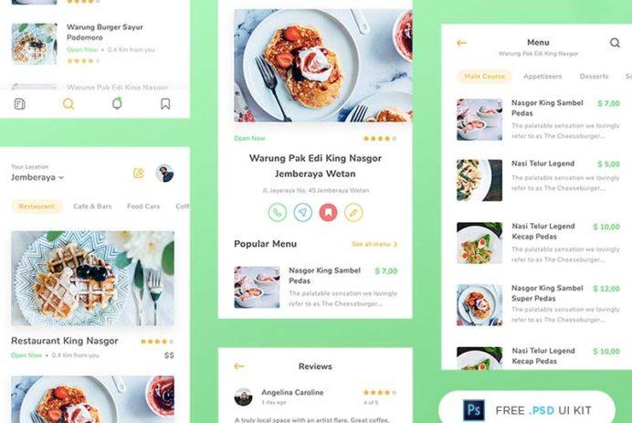 Restaurant App UI Kit - Free PSD