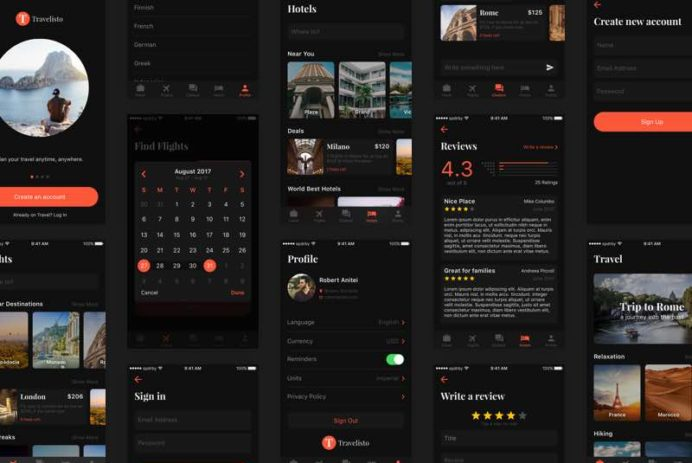 Travelisto UI Kit - Dark Release