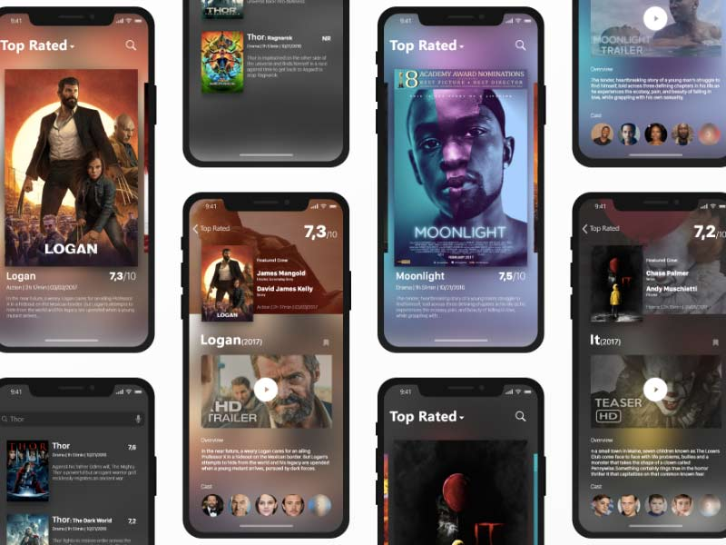 Movie Database App for iPhone X - XD Freebie