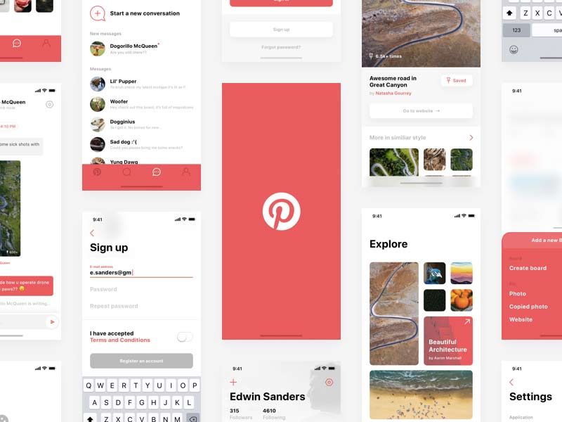 Pinterest - iPhone X Redesign Sketch Freebie