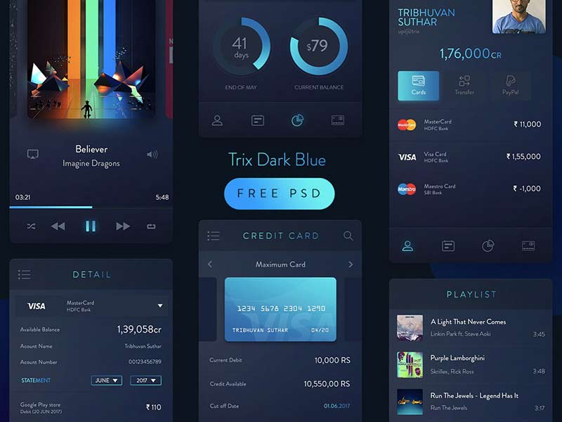 Trix Dark Blue UI Kit - Free PSD