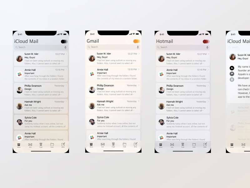 iOS 12 Mail App Concept for Sketch