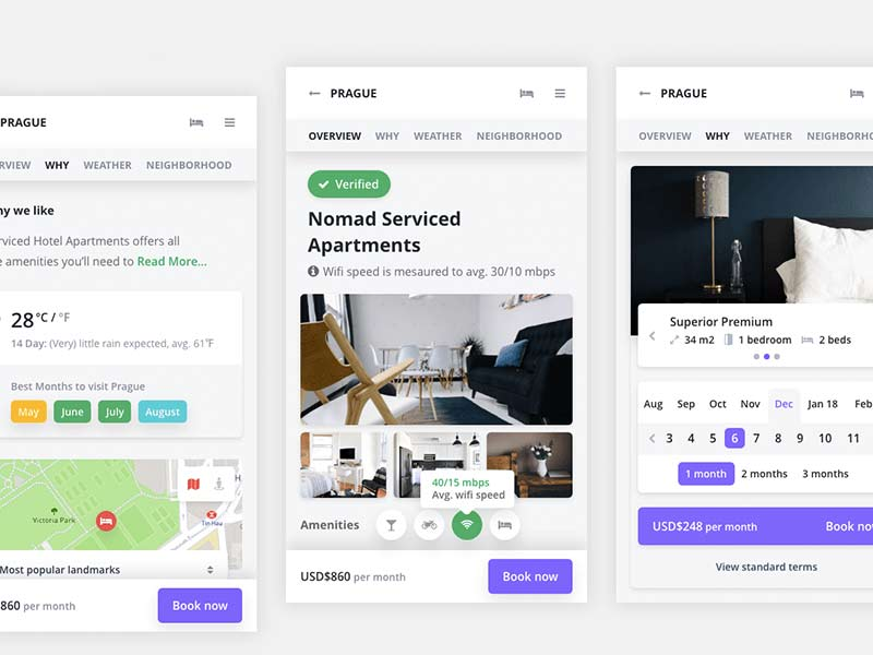 Mobile Booking App - Free XD UI kit