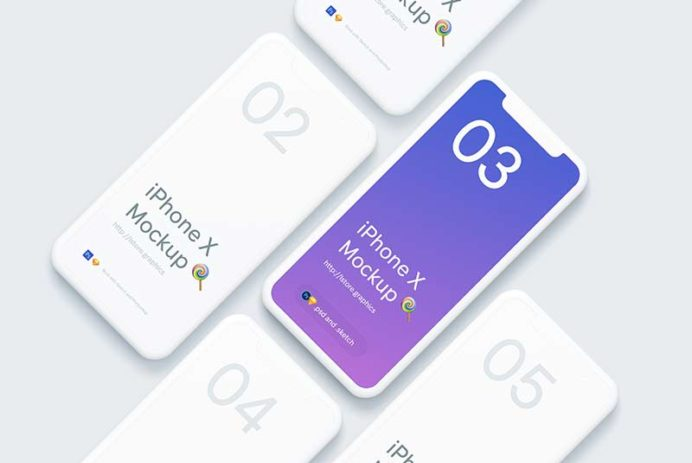 Simple iPhone X Mockups for Sketch and Photoshop