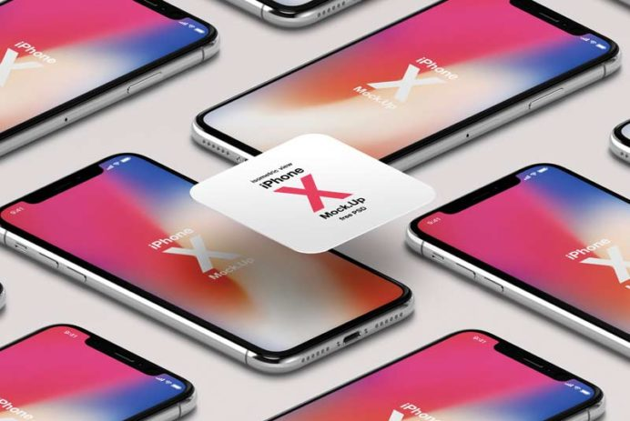 iPhone X - Free Isometric PSD Mockups