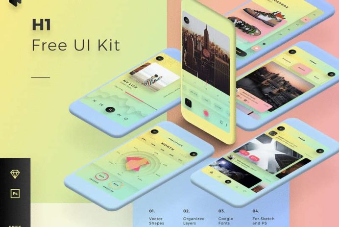H1 - Free Mobile UI Kit for Sketch & Photoshop