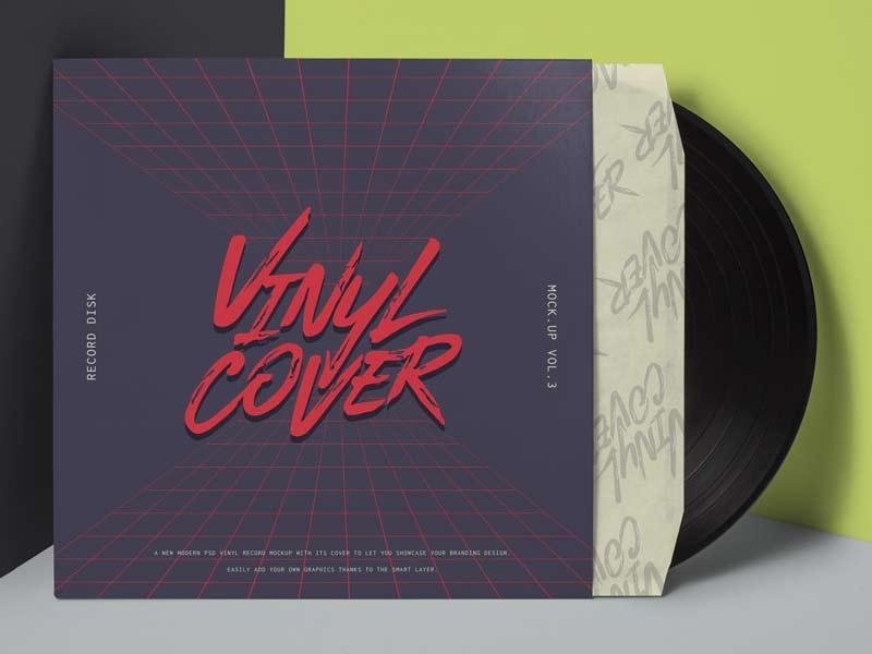 Vinyl Cover Record Mockup - Free PSD