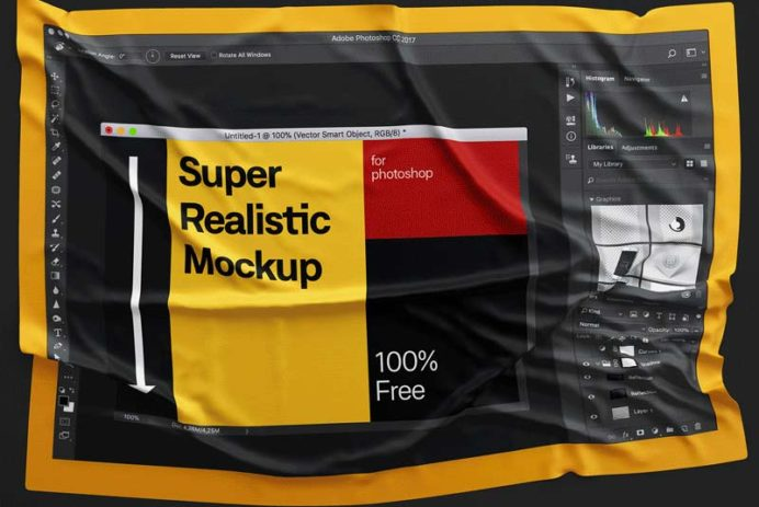 Fabric Wrinkles Free PSD Mockup