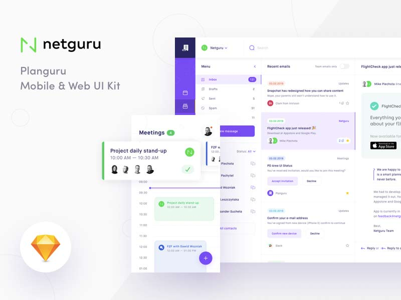 Planguru - Free Sketch UI Kit