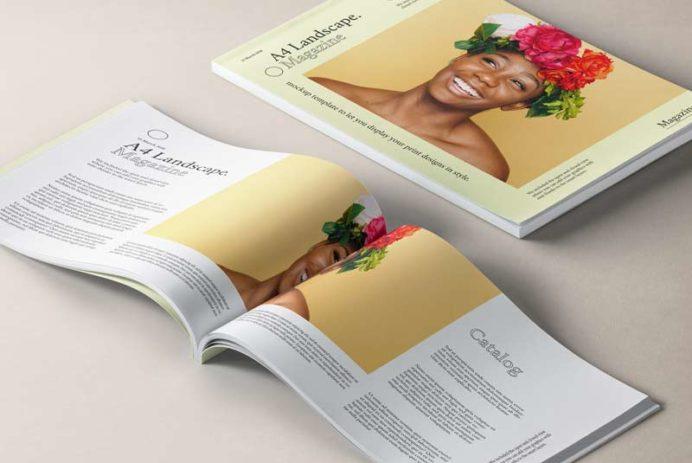 A4 Landscape Magazine PSD Mockup