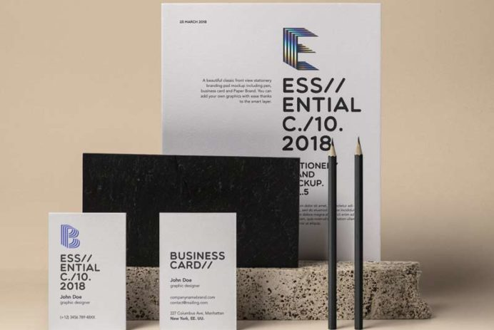 Essential Stationery - Free PSD Mockup