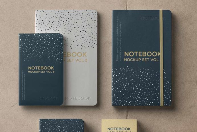 Notebook Set - Free PSD Mockup