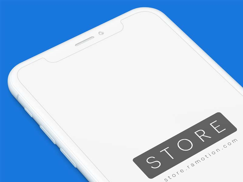 iPhone X - Clay White Perspective Free PSD Mockup