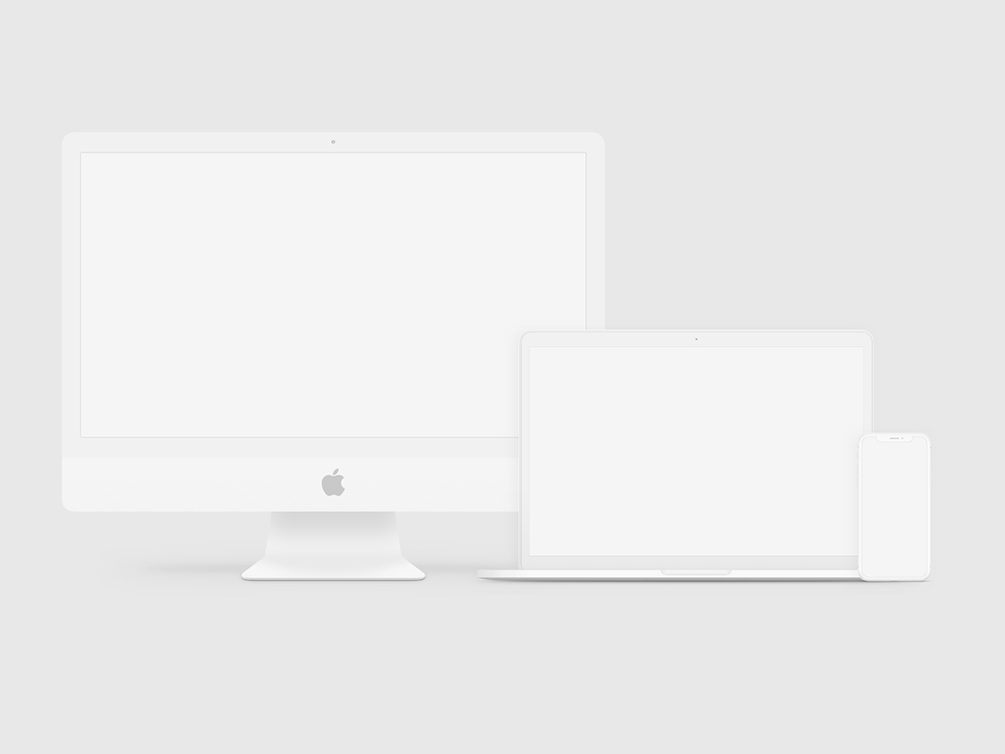 iMac, iPhone, iPad, MacBook Clay Mockups