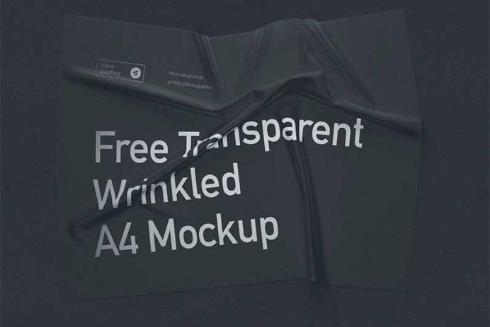 Transparent Wrinkled A4 Mockup