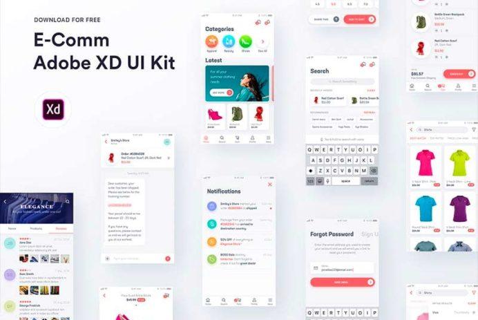 E-Comm - Free Adobe XD UI Kit