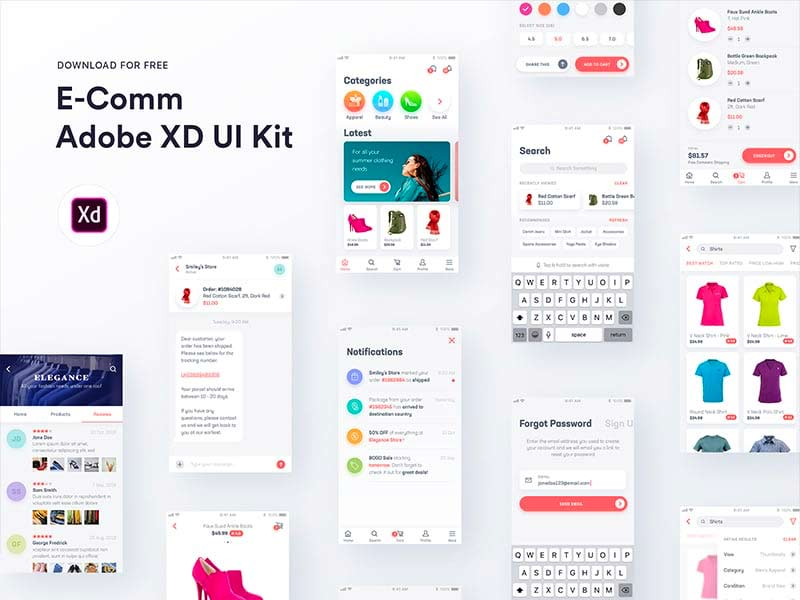 E-Comm - Free Adobe XD UI Kit
