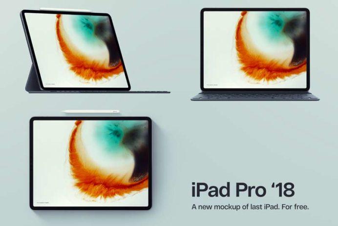 iPad Pro 2018 - 3 Free PSD Mockups