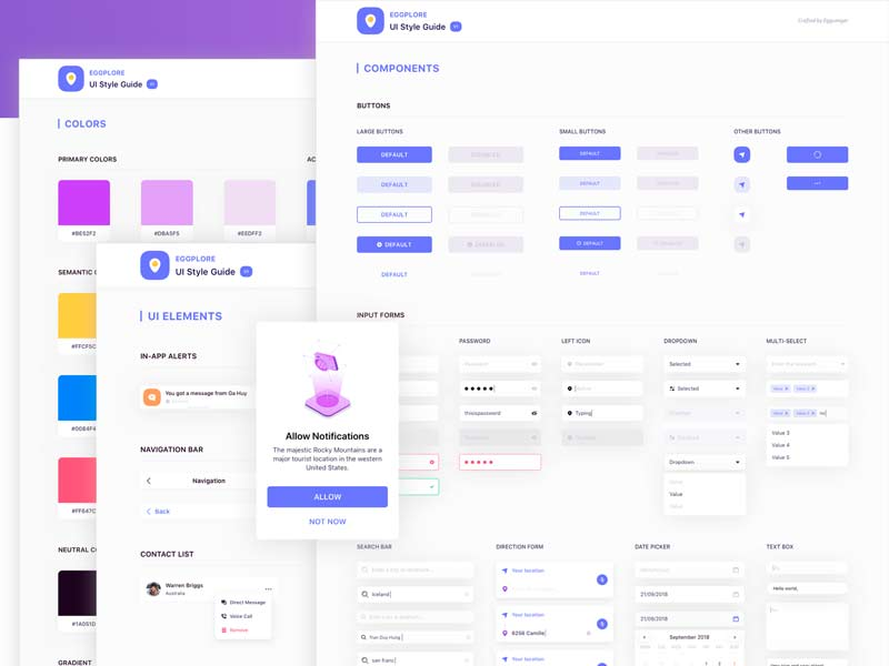 Eggplore UI Styleguide for Sketch and Figma