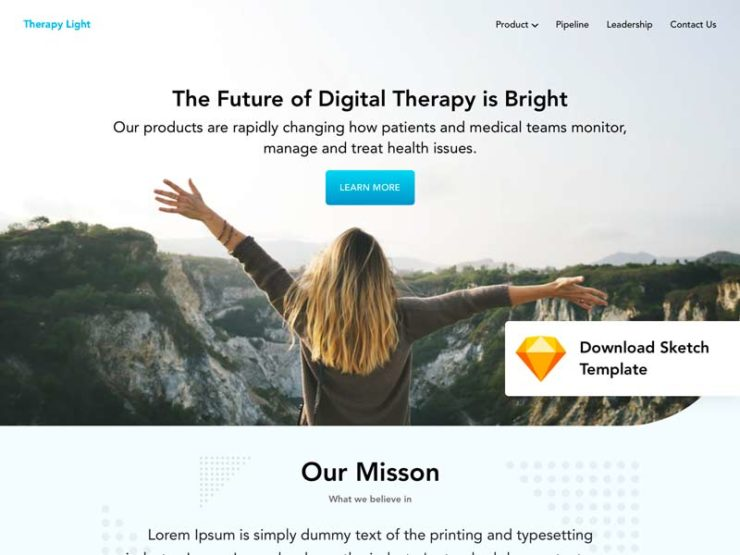 Therapy Landing Page Template for Sketch