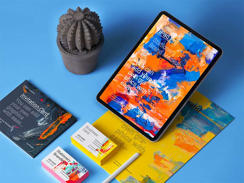 iPad Stationery Branding Mockup - Free PSD