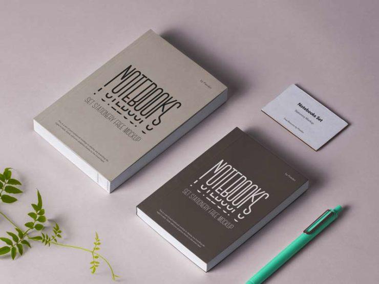 Notebook Stationery Mockup - Free PSD