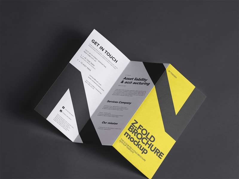 Z-Fold Brochure - Free PSD Mockup