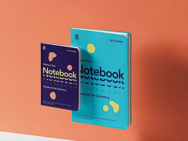 Gravity Notebook Set - Free PSD Mockup