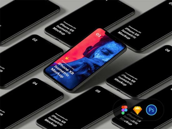 Isometric iPhone XR Mockup for Sketch, Figma and Photoshop