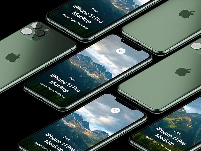 iPhone 11 Pro Free Mockup for Sketch, Figma and Photoshop