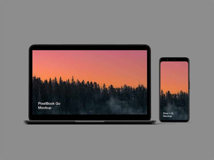 Pixel 4 and PixelBook Go Free Mockup for Sketch, Figma and Photoshop