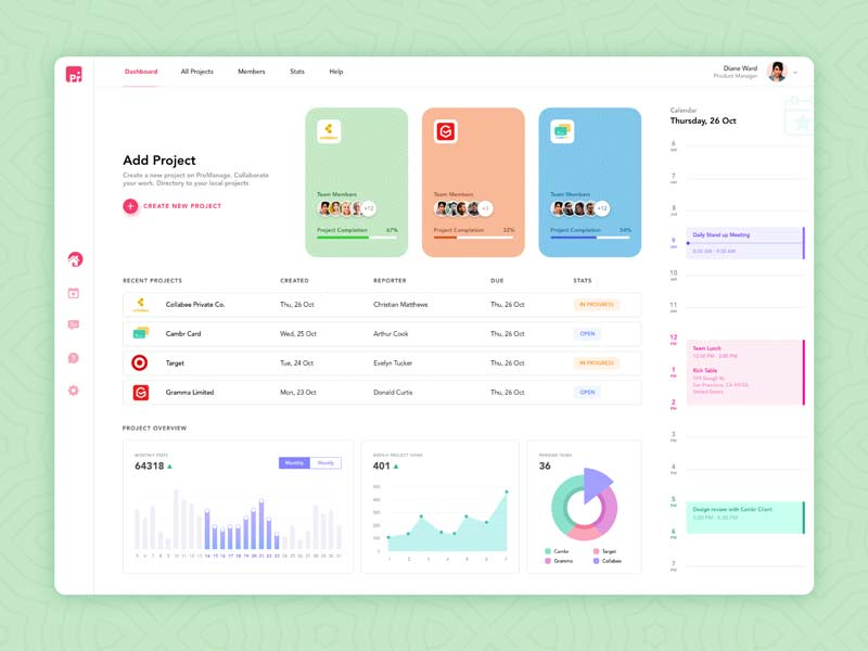 ProManage Dashboard - Adobe XD Free File